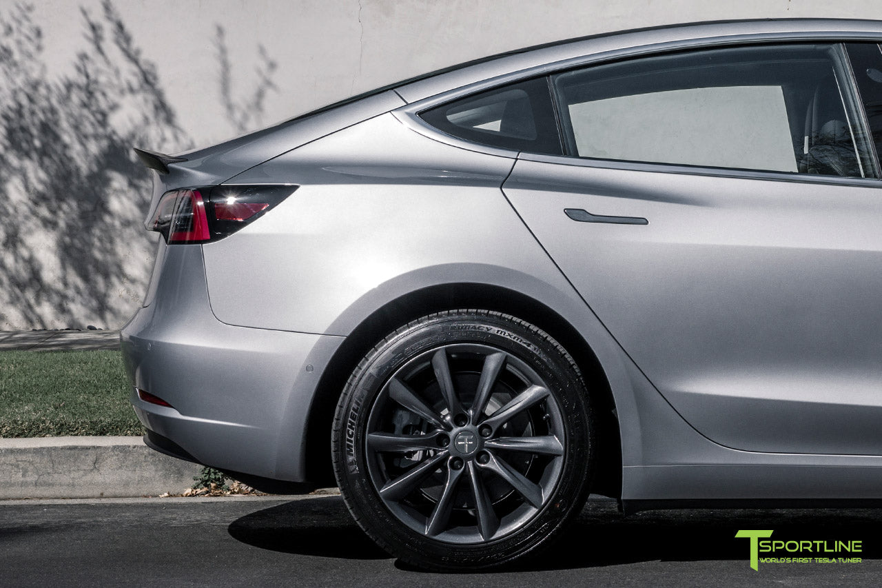 Silver Tesla Model 3 with Matte Carbon Fiber Trunk Wing Spoiler by T Sportline 5