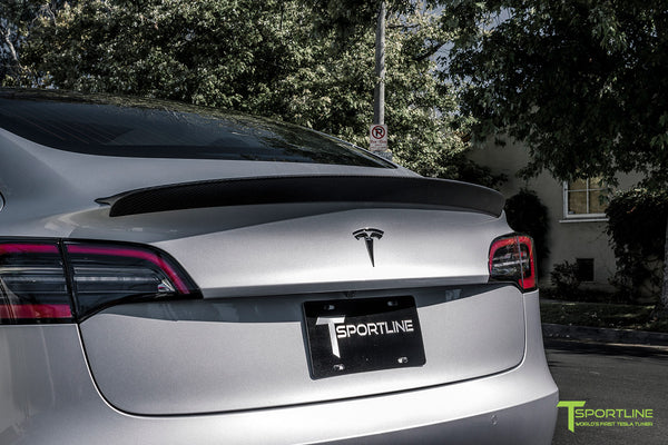 Silver Tesla Model 3 with Matte Carbon Fiber Trunk Wing Spoiler by T Sportline 4