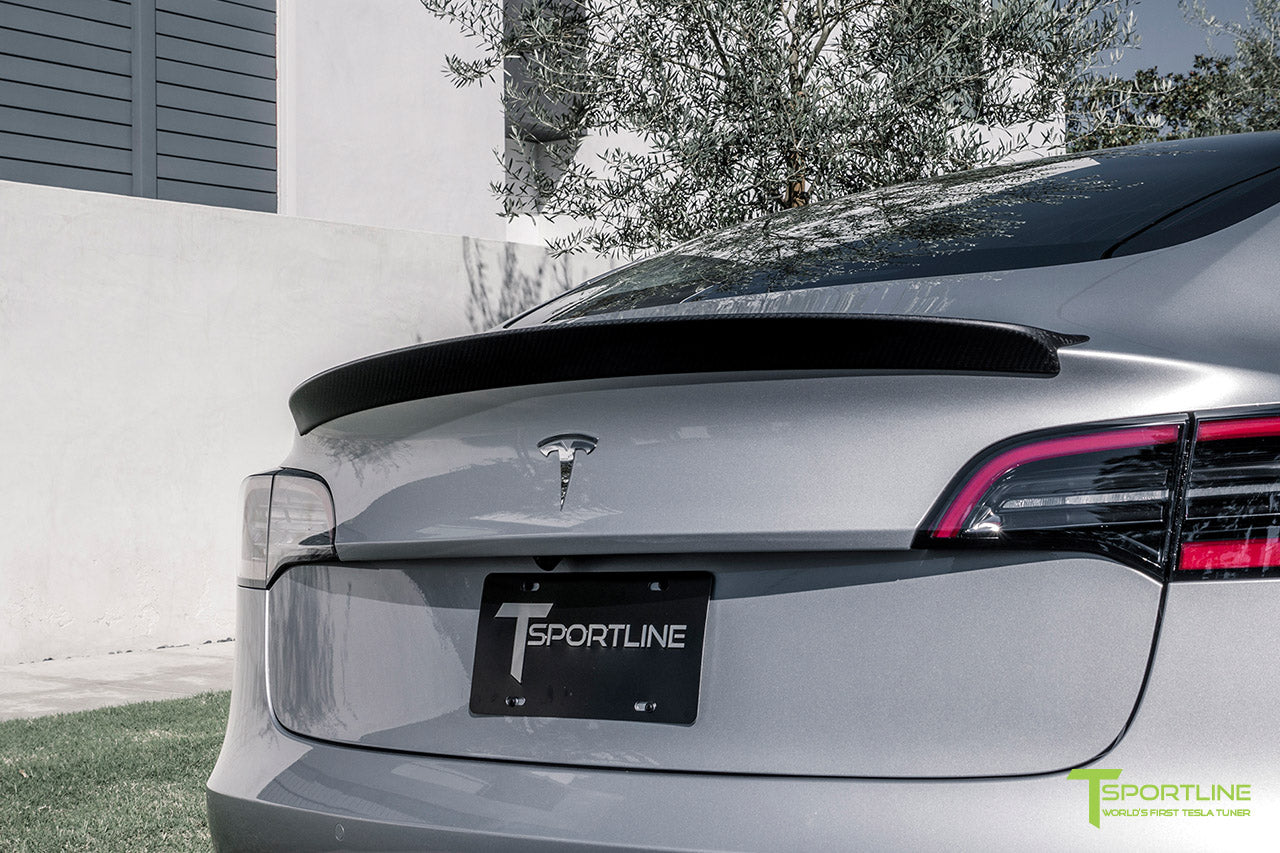 Silver Tesla Model 3 with Matte Carbon Fiber Trunk Wing Spoiler by T Sportline 3