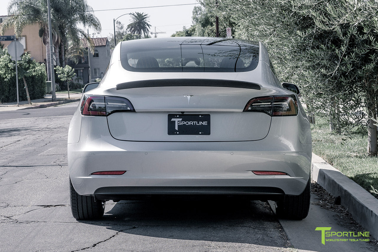 Silver Tesla Model 3 with Matte Carbon Fiber Trunk Wing Spoiler by T Sportline 7