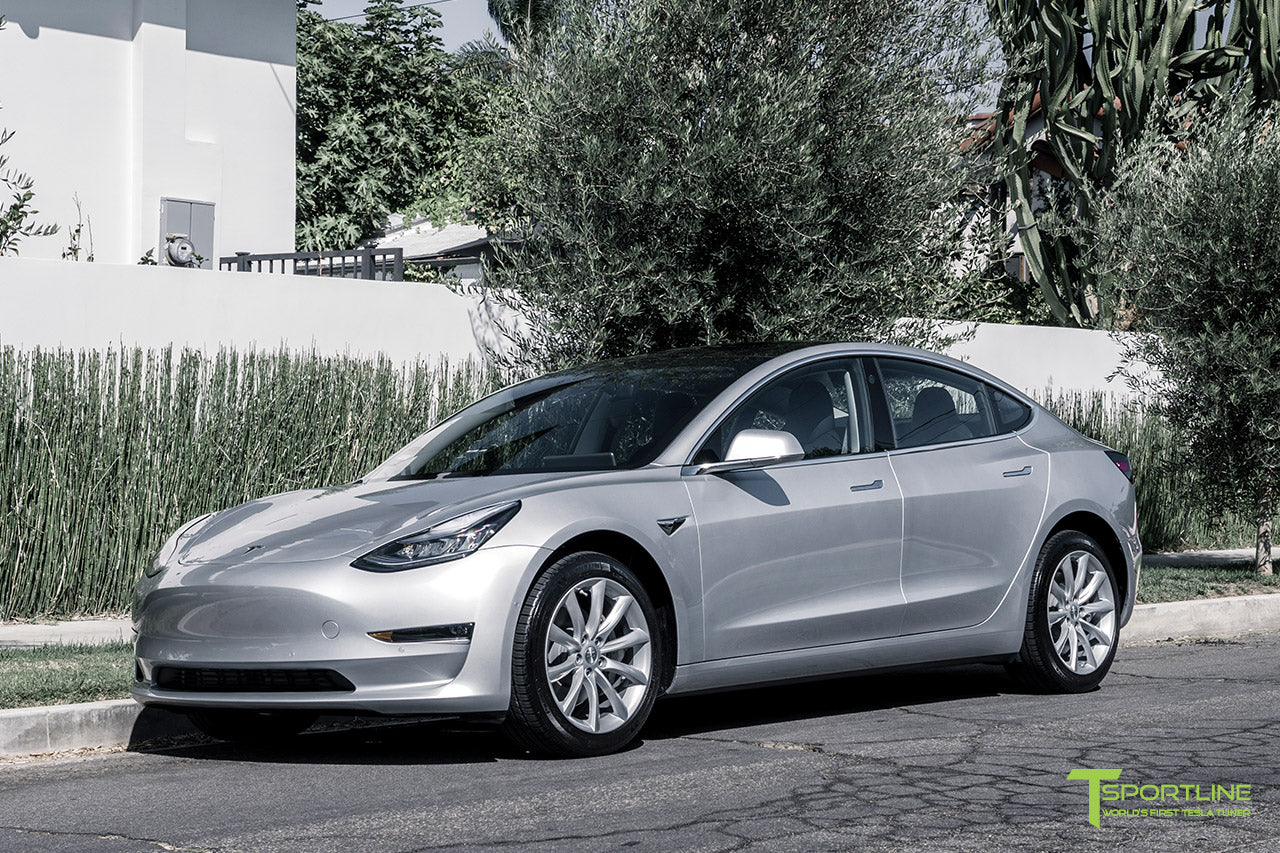 Silver Tesla Model 3 with Brilliant Silver 18 inch Turbine Style Wheels TST Flow Forged by T Sportline 4