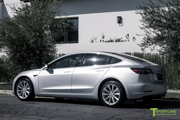 Silver Tesla Model 3 with Brilliant Silver 18 inch Turbine Style Wheels TST Flow Forged by T Sportline 2