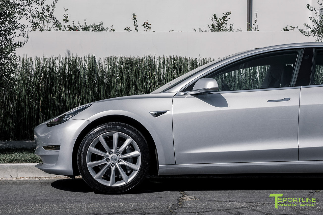 Silver Tesla Model 3 with Brilliant Silver 18 inch Turbine Style Wheels TST Flow Forged by T Sportline 1