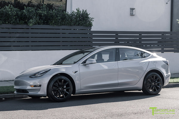 Silver Tesla Model 3 with Gloss Black 18 inch Turbine Style Wheels TST Flow Forged by T Sportline 4