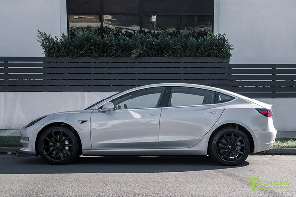 Silver Tesla Model 3 with Gloss Black 18 inch Turbine Style Wheels TST Flow Forged by T Sportline 3