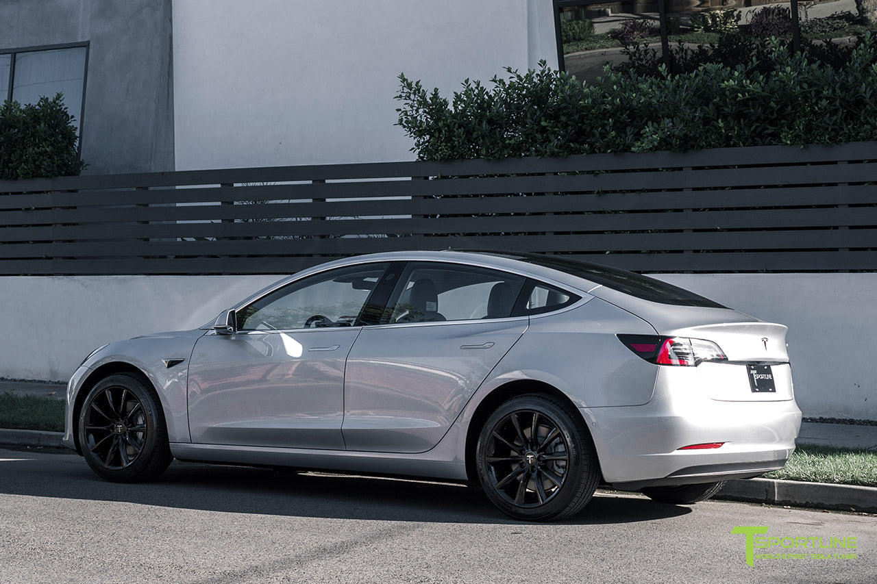 Silver Tesla Model 3 with Gloss Black 18 inch Turbine Style Wheels TST Flow Forged by T Sportline 2