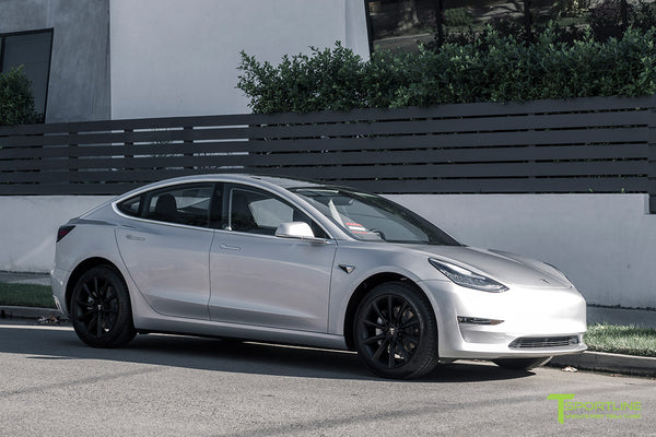 Silver Tesla Model 3 with Matte Black 18 inch Turbine Style Wheels TST Flow Forged by T Sportline 4
