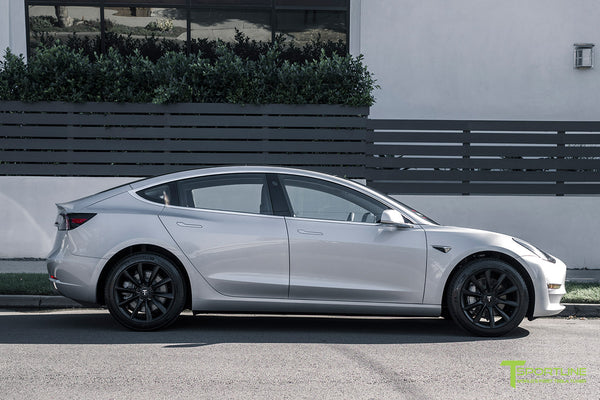 Silver Tesla Model 3 with Matte Black 18 inch Turbine Style Wheels TST Flow Forged by T Sportline 3