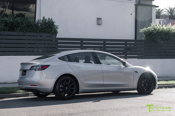 Silver Tesla Model 3 with Matte Black 18 inch Turbine Style Wheels TST Flow Forged by T Sportline 2
