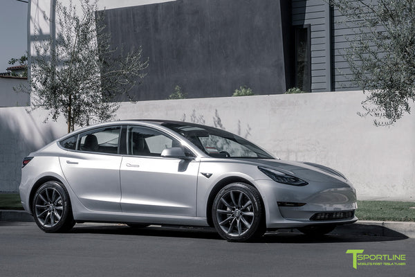 Silver Tesla Model 3 with Space Gray 18 inch Turbine Style Wheels TST Flow Forged by T Sportline 4