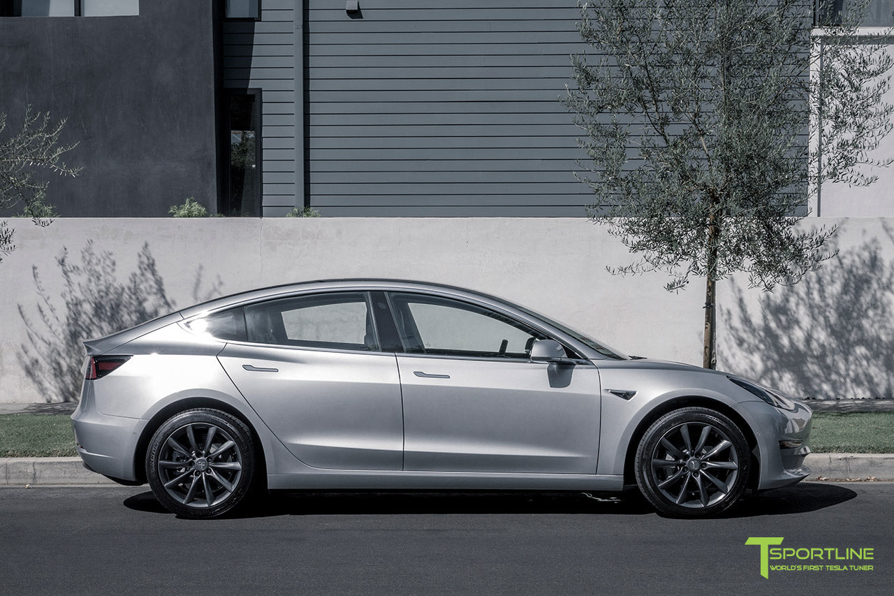 Silver Tesla Model 3 with Space Gray 18 inch Turbine Style Wheels TST Flow Forged by T Sportline 3