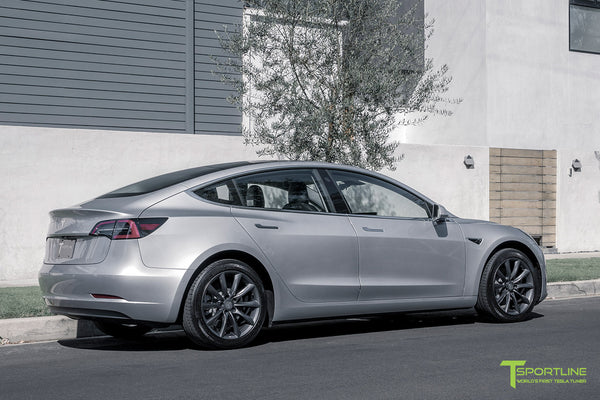 Silver Tesla Model 3 with Space Gray 18 inch Turbine Style Wheels TST Flow Forged by T Sportline 2