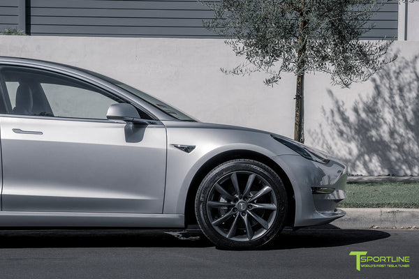 Silver Tesla Model 3 with Space Gray 18 inch Turbine Style Wheels TST Flow Forged by T Sportline 1