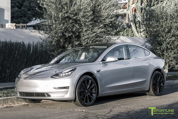 Silver Tesla Model 3 with Gloss Black 20 inch Turbine Style Wheels TST by T Sportline 4