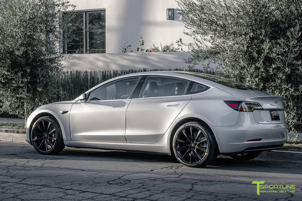 Silver Tesla Model 3 with Gloss Black 20 inch Turbine Style Wheels TST by T Sportline 2