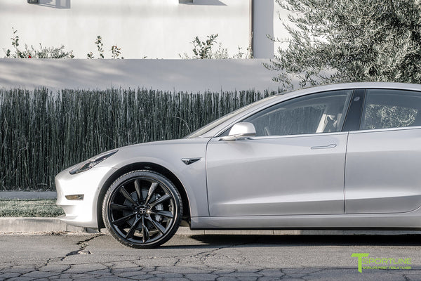 Silver Tesla Model 3 with Gloss Black 20 inch Turbine Style Wheels TST by T Sportline 1