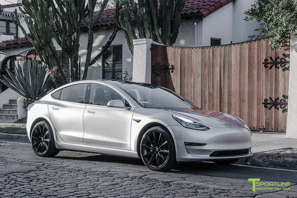 Silver Tesla Model 3 with Matte Black 20 inch Turbine Style Wheels TST by T Sportline 4