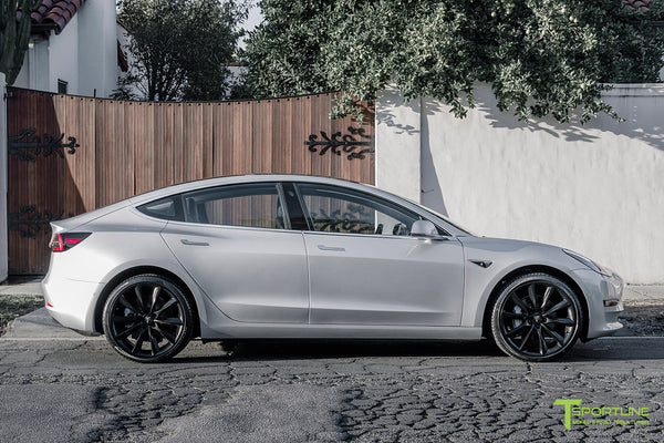 Silver Tesla Model 3 with Matte Black 20 inch Turbine Style Wheels TST by T Sportline 3