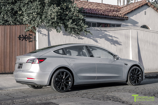 Silver Tesla Model 3 with Matte Black 20 inch Turbine Style Wheels TST by T Sportline 2