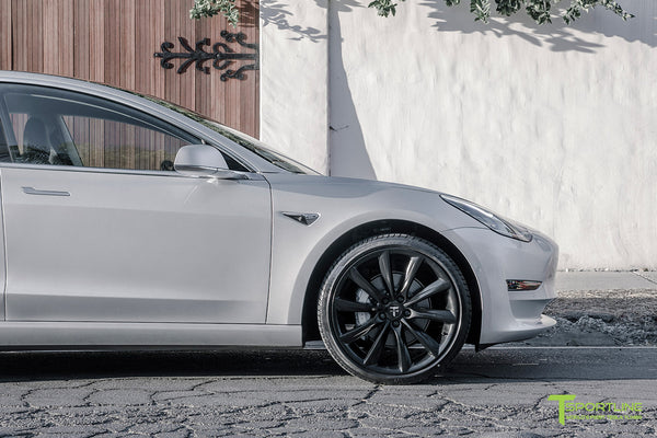 Silver Tesla Model 3 with Matte Black 20 inch Turbine Style Wheels TST by T Sportline 1