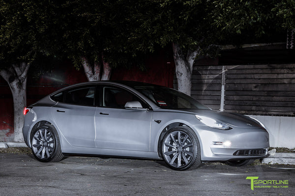 Silver Tesla Model 3 with Metallic Gray 20 inch Turbine Style Wheels TST by T Sportline 4