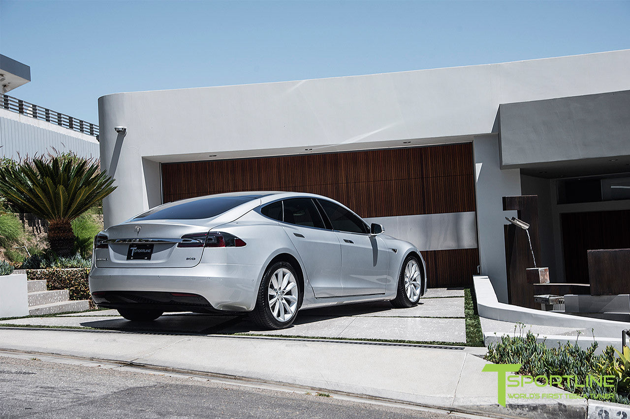 Silver Tesla Model S 2.0 with 19 Inch TST Wheels in Brilliant Silver