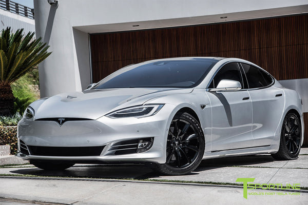 Silver Tesla Model S 2.0 with 19 Inch TST Wheels in Gloss Black 3