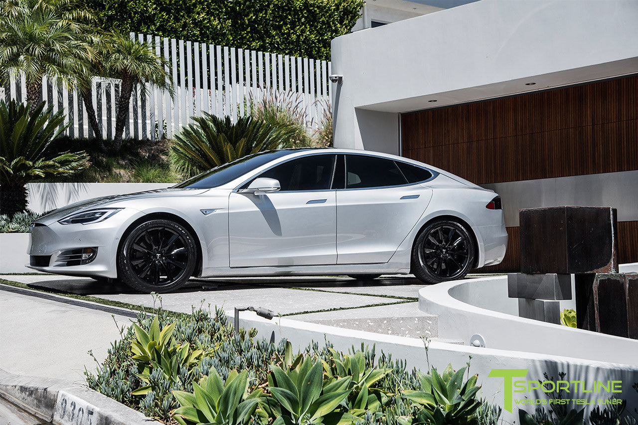 Silver Tesla Model S 2.0 with 19 Inch TST Wheels in Gloss Black 2
