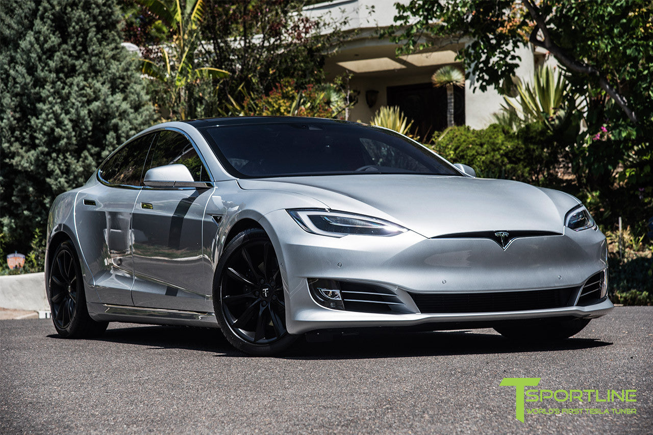 Silver Tesla Model S 2.0 with 19 Inch TST Wheels in Matte Black 3