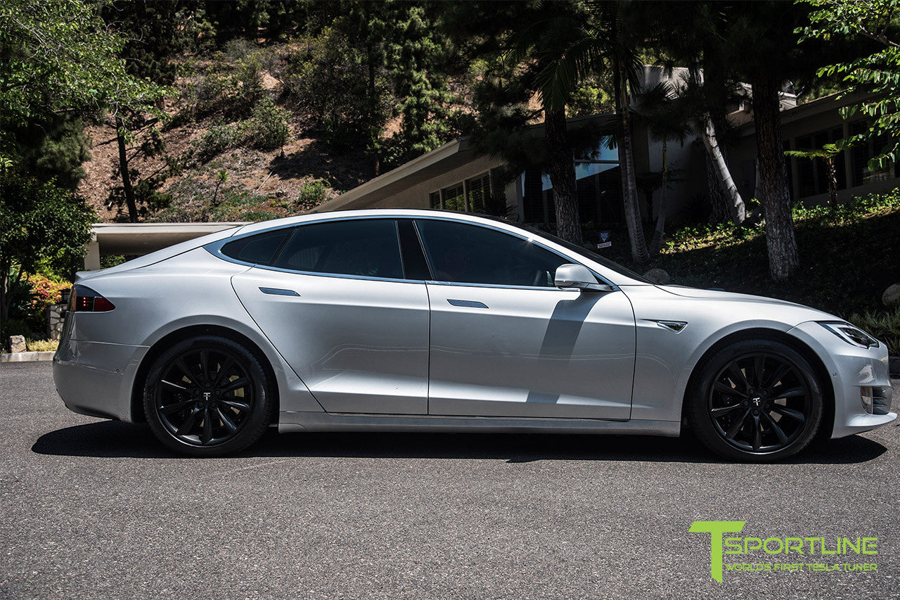 Silver Tesla Model S 2.0 with 19 Inch TST Wheels in Matte Black 2