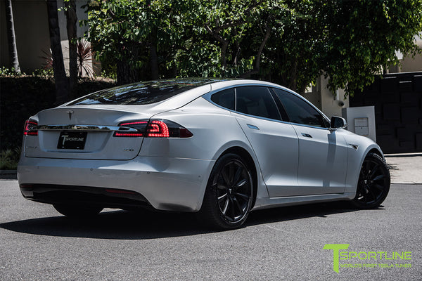 Silver Tesla Model S 2.0 with 19 Inch TST Wheels in Matte Black 1