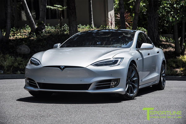 Silver Tesla Model S 2.0 with 19 Inch TST Wheels in Metallic Grey 3
