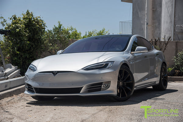 Silver Tesla Model S 2.0 with 20 Inch TST Wheels in Gloss Black 3