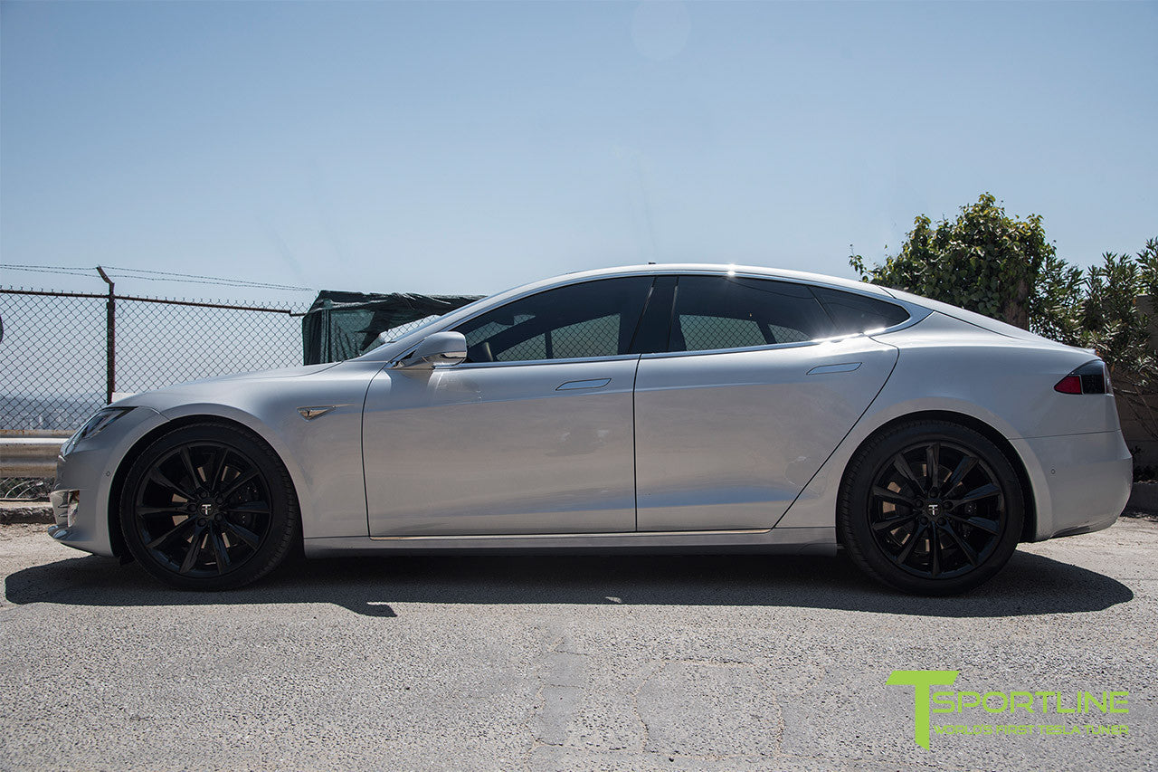 Silver Tesla Model S 2.0 with 20 Inch TST Wheels in Gloss Black 2