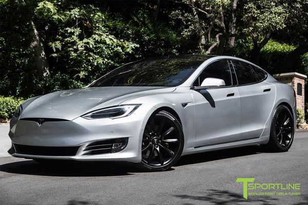 Silver Tesla Model S 2.0 with 20 Inch TST Wheels in Matte Black 3