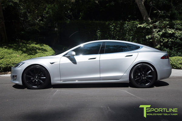 Silver Tesla Model S 2.0 with 20 Inch TST Wheels in Matte Black 2
