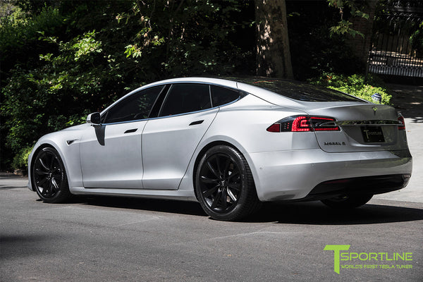 Silver Tesla Model S 2.0 with 20 Inch TST Wheels in Matte Black 1