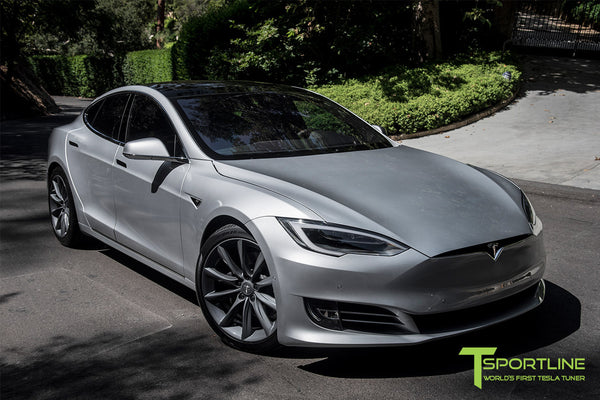 Silver Tesla Model S 2.0 with 20 Inch TST Wheels in Metallic Grey 3