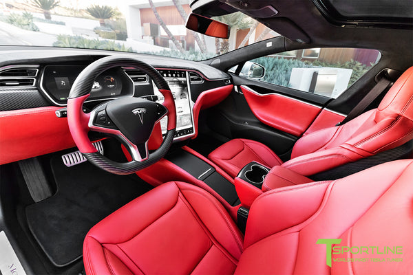 Project Silver Bullet - Model S (2016 Facelift) - Custom Ferrari Rosso Interior - Matte Carbon Fiber Trim by T Sportline 12