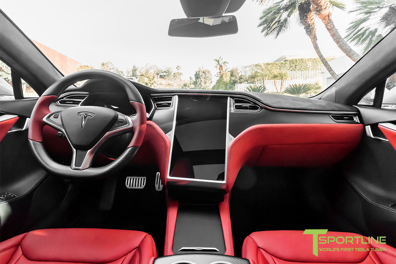 Project Silver Bullet - Model S (2016 Facelift) - Custom Ferrari Rosso Interior - Matte Carbon Fiber Trim by T Sportline