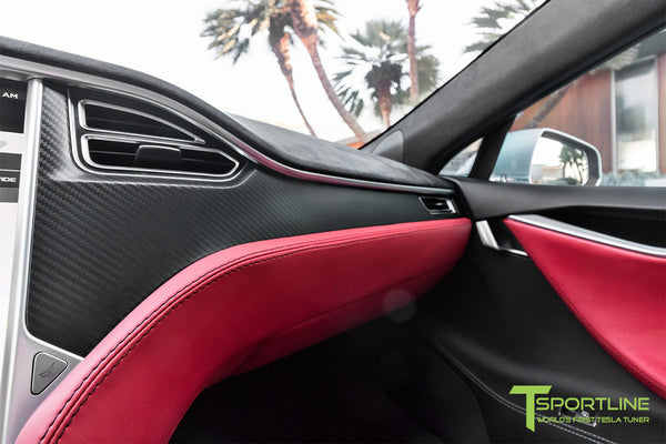 Project Silver Bullet - Model S (2016 Facelift) - Custom Ferrari Rosso Interior - Matte Carbon Fiber Trim by T Sportline 7