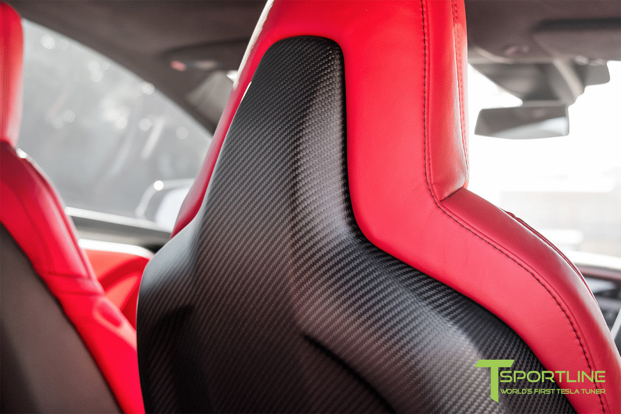 Project Silver Bullet - Model S (2016 Facelift) - Custom Ferrari Rosso Interior - Matte Carbon Fiber Trim by T Sportline 3