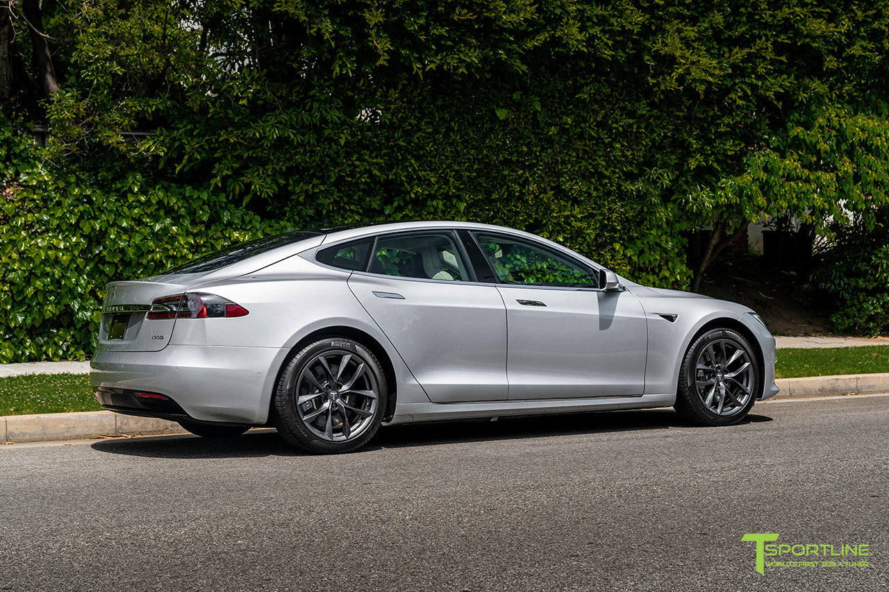 "Silver Tesla Model S with 19"" TSS Flow Forged Wheels in Space Gray by T Sportline"