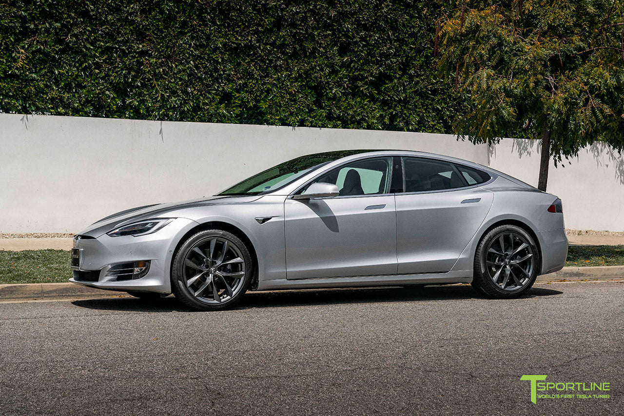 "Silver Tesla Model S with 20"" TSS Flow Forged Wheels in Space Gray by T Sportline"