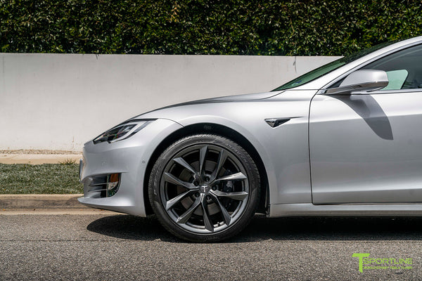 Silver Tesla Model S with 20