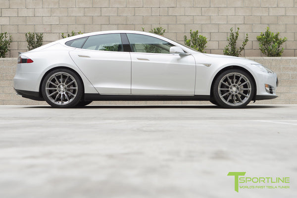 Silver Tesla Model S 1.0 with Brush Satin 21 inch TS112 Forged Wheels 1