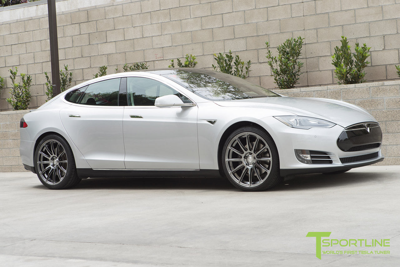 Silver Tesla Model S 1.0 with Brush Satin 21 inch TS112 Forged Wheels 2