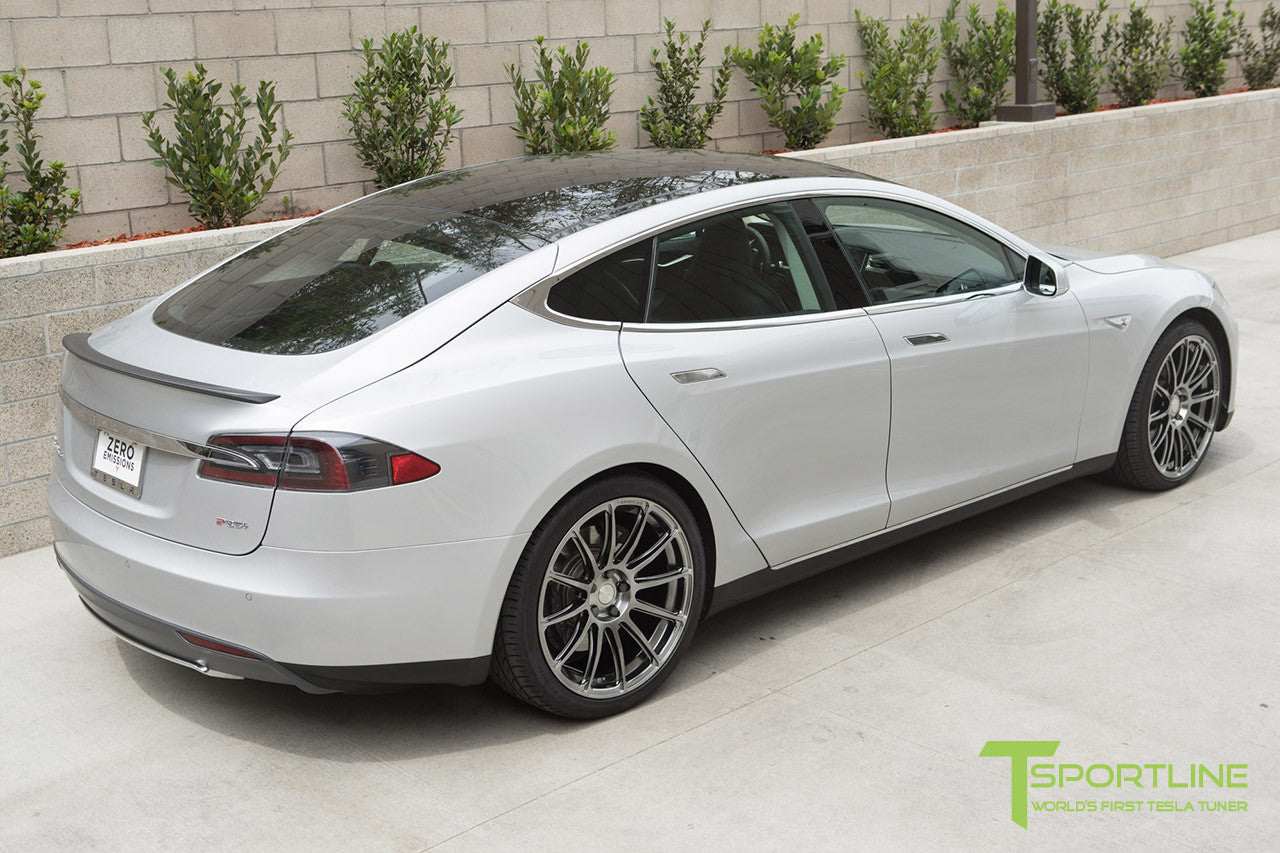 Silver Tesla Model S 1.0 with Brush Satin 21 inch TS112 Forged Wheels 3