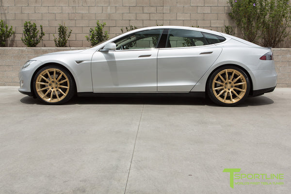 Silver Tesla Model S 1.0 with Ghost Gold 21 inch TS112 Forged Wheels 1