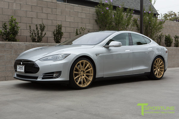 Silver Tesla Model S 1.0 with Ghost Gold 21 inch TS112 Forged Wheels 2